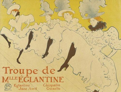 Toulouse  Lautrec. Troupe de  Mlle Églantine,1896.Litografía en color 62x80cm. Victoria and Albert Museum.Londres. El proceso de abstracción de los personajes de Lautrec como ilustrador son magistrales.