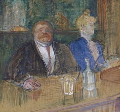 Toulouse Lautrec.En el café, el cliente y la cajera anémica,1898. Gouache sobre cartón,81x60cm.Zurich. El espíritu decadente de finde siglo XIX fue plasmado por el pintor francés asi como los nuevos lugares de ocio.