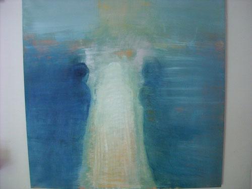 Los discípulos de Emaus. Oleo sobre lienzo de Stephanie de Malherbe.120x120cm.2011