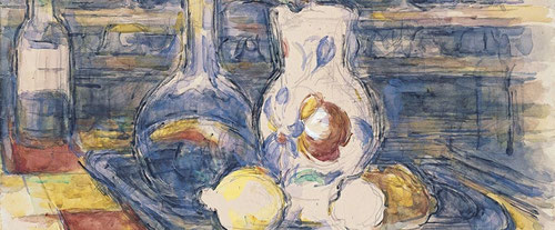 Botella,garrafa,jarro y limones-1902.Acuarela sobre papel.Museo Thyssen. Todo un grupo familiar los bodegones de Cézanne junto a manzanas y utensilios anónimos,dotados de un singular carácter individual.