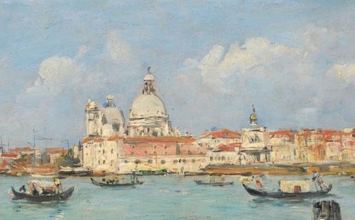 Eugène Boudin.Venecia,Santa Maria della Salute 1895.Óleo sobre tabla 19x39cm Musée de Beaux Arts., Ville de Reims