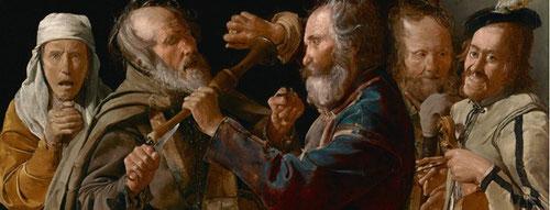 Riña de músicos.Óleo sobre lienzo.85x141cm.Paul Getty Museum.Los Angeles.Representación insólita,primera etapa de escenas de género.5 personajes se enzarzan a golpes,el músico saca el cuchillo,elotro con un limón en la mano lo acerca a sus ojos.