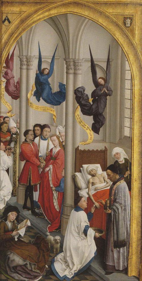 Siete angeles vestidos con túnicas sobrevuelan las escenas de la Unción, Sacerdocio y Matrimonio.La perspectiva del ajedrezado suelo consigue sensación de profundidad.Parecen retratos personalizados los figurantes al estar pintados en láminas de estaño.