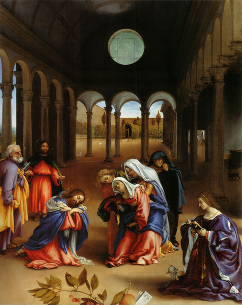 Elisabetha Rota medita sobre la despedida de Cristo y su Madre 1521.Óleo 126x99cm.Museo de Berlín. Enmarcados en una estructura arquitectónica con bóveda de cañón,S Juan y María Magdalena sostienen a María que sufre un desfallecimiento.