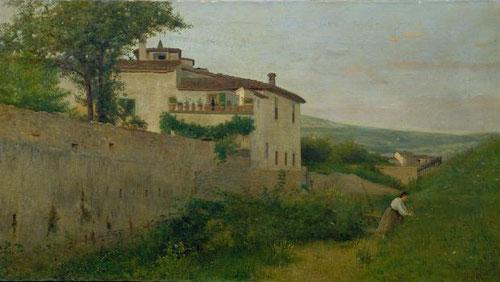 Silvestro Lega.La Quinta Batelli a orillas del Affricco. Óleo sobre tabla.43x79cm. Instituto Matteuci, Viareggio