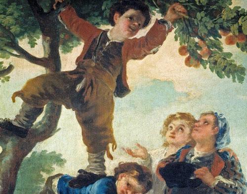 Goya reinventó los juegos y placeres de la infancia,el juego al aire libre y la educación física tomó carta de naturaleza en la Real Fábrica de Santa Bárbara.