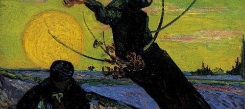 Detalle óleo sobre lienzo.El sembrador de Vincent Van Gogh,1888. 32cm x40cm. Museo Vincent Van Gogh, Amsterdam, Paises Bajos.