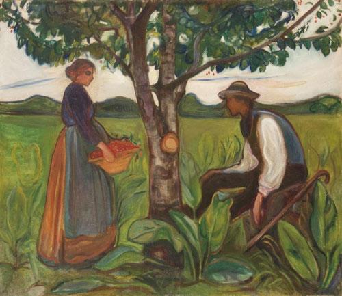 Fertilidad, de Edvard Münch.1899-1900.Pintor y grabador noruego,precursor del expresionismo alemán SXX.(144cmx121cm) Con una calma inesperada de su mejor etapa creativa,con acentuado sentido bucólico,el tronco del arbol de la vida aporta  verticalidad.