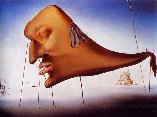 """Dalí, el sueño, 1937.Verdadero monstruo """"crisalítico"""" apoyado en 11 muletas ya que basta que una parte del cuerpo encuentre apoyo para que el sueño nos domine con fuerza."""