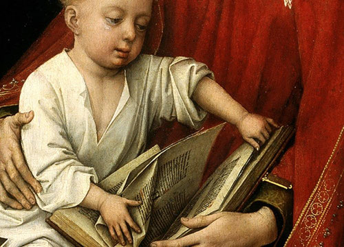 Las composiciones de la Virgen y el Niño en las que las que una de las dos figuras sostiene un libro son bastante habituales en la escultura de Borgoña y Bruselas.