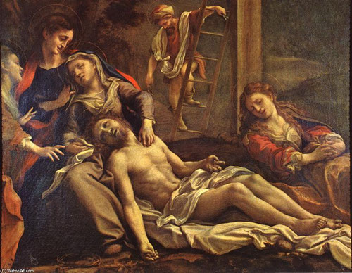Il Correggio,el Descencimiento o La Quinta Angustia, mediados del SXVI.Óleo sobre tabla,reducidas dimensiones 39x47cm.Réplica  en Parma.