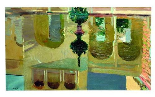 Sorolla se familiarizó en fechas tempranas en la Escuela de Bellas Artes de Valencia con la práctica de la pintura al aire libre.Palacio de Carlos V y su reflejo en el estanque del Alcázar de Sevilla dinamiza el movimiento ondulante del agua.