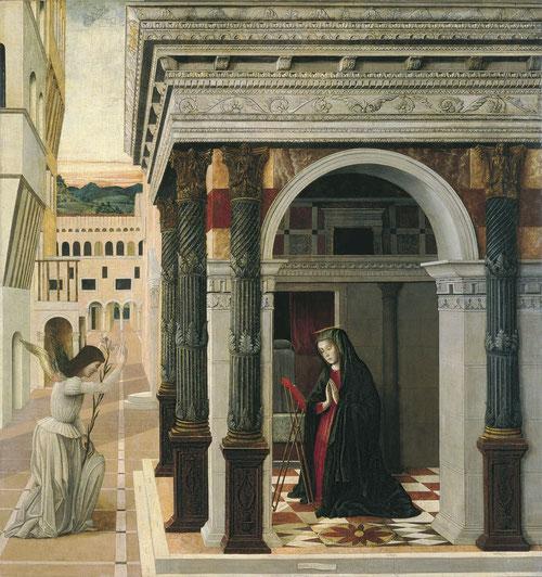 Gentile Bellini, La Anunciación.1475.El templo constituye en el Renacimiento un escenario clásico. Si los espacios paleocristianos y bizantinos adoptan colores dorados, otros elementos entran en el repertorio figurativo como las columnas salomónicas.