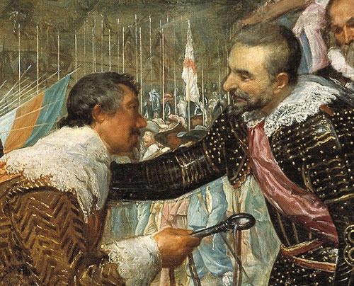 Diego Velázquez, Detalle de Las Lanzas o Rendición de Breda,1634(307cm x365cm)Victoria de las tropas españolas comandadas por Spínola tras el asedio al que había sido sometida Breda bajo el mando de Nassau, marcando la magnanimidad y clemencia del español