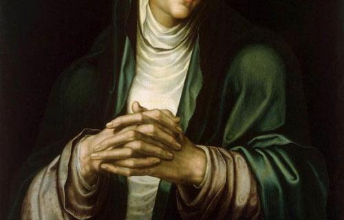 Detalle de la Virgen de los Dolores con las manos entrelazadas,de influencia italiana, flamenca y holandesa.Podrían haber sido encargadas por Felipe II.La Dolorosa no figura en los evangelios,surge a partir de la exaltación del patetismo al final de la EM