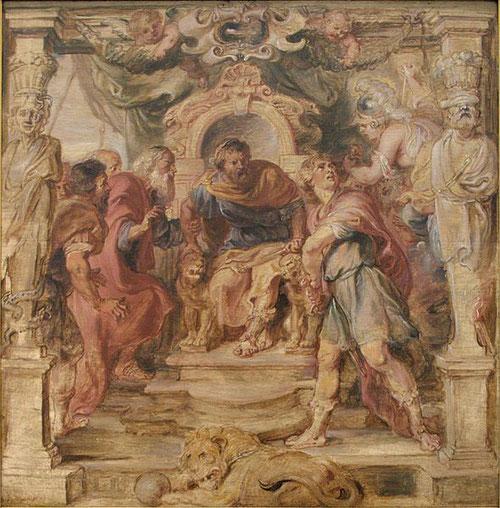 Boceto del Boijmans Museum. La ira de Aquiles 1635.Aquiles monta en cólera porque Agamenón ha tomado a Briseida de concubina.Minerva agarra a Aquiles de la rubia cabellera para calmarle.