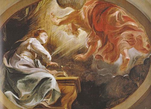 Boceto de La Anunciación.1620.Óleo sobre tabla.32x44cm.Viena. Mitad grisallas,distribución de luces y sombras, los claroscuros del manto de la Virgen,escorzos pronunciados para la pintura de techos.