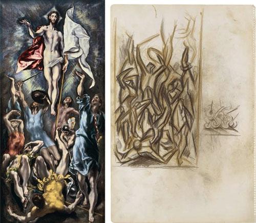 La Resurrección de Cristo del Greco en 1600 en el Museo de Arte de la Universidad de San Luis fue matriz para Jackson POLLOCK, una obra sin título de 1939, quien copiaba a partir de imágenes de libros, fue una inspiración directa de su obra.