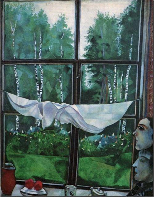 Vista de la ventana en Zaolchie, cerca de Vitebsk, 1915. Óleo y gouache sobre cartón adherido a lienzo.100x80cm. The State Tretyakov Gallery, Moscú.