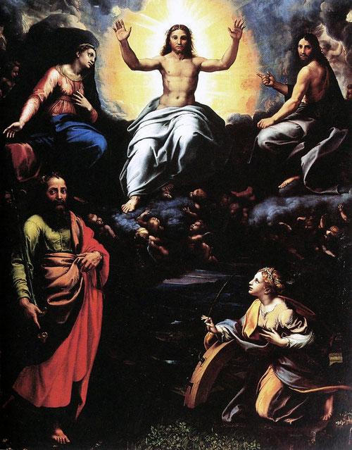 El Cristo de la Deesis parece sacado de la Disputa de las Estancias Vaticanas 1519-20 Galeria Nacional de Parma e Piacenza.