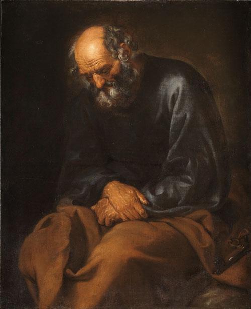 Anónimo español.Las lágrimas de San Pedro, anónimo español.Óleo sobre lienzo 103x83cm.Museo del Prado Madrid.