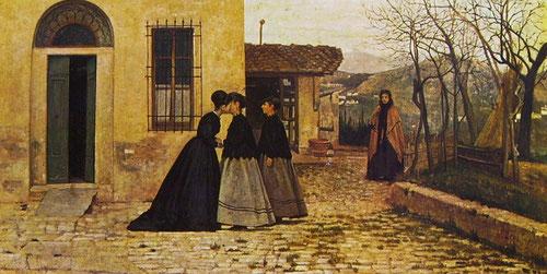 La visita de Silvestro Lega.1858. Auténtica predela quattrocentista con gravedad y ritmo solemne que recuerda al Beato Angélico.