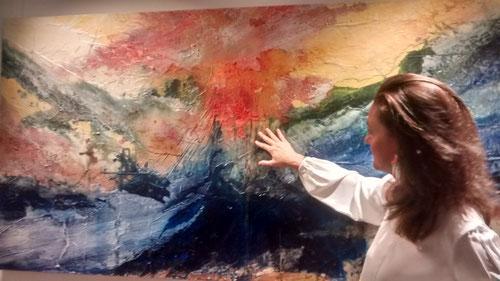 """María Tarruella.""""En verdad te digo, el que no nazca de nuevo,no podrá ver el Reino de Dios"""" Jn 3, 5-8. MI pintura es mi forma de rezar y cada material que escojo es parte del lenguaje de comunicación."""
