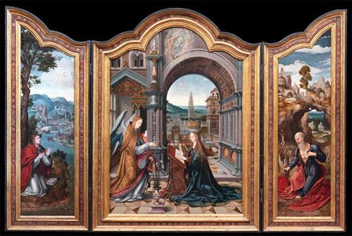 """Tríptico de la Anunciación de Joos Van Cleeve, hacia 1540.Toda una maestría técnica en el detalee, tratamientos de figuras y la dimensión geométrica espacial. Espléndido paisaje que hace alusión al """"hortus conclusus"""" de María y arquitectura italiana."""
