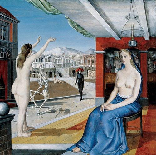 Paul Delvaux.La llamada 1944.Óleo sobre lienzo.165x170cm.Colección Telefónica.Madrid.