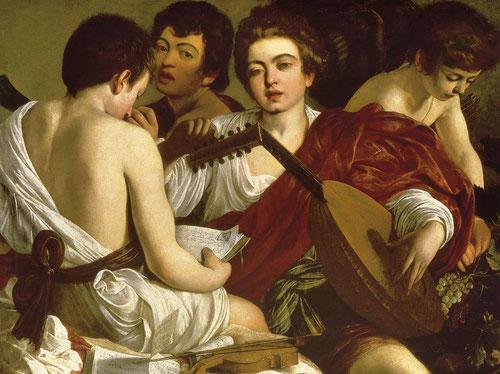 Los músicos,Caravaggio,1596-97.Óleo sobre lienzo.92x118cm.Nueva York,Metropolitan Museum of Art.Ocupaba la primera estancia del lujoso Palacio Madama del Cardenal del Monte,composición pintada al natural con jóvenes músicos de la corte del cardenal.