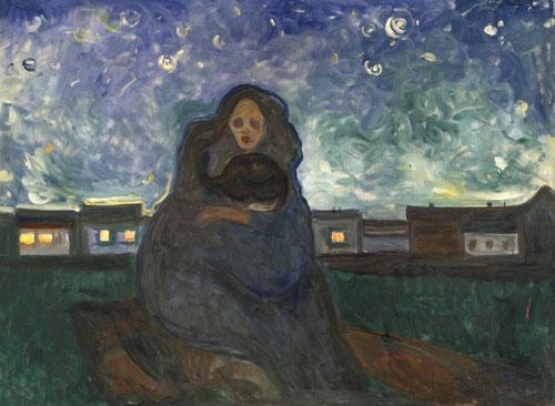 Bajo las estrellas.1900.Óleo sobre lienzo.90x120cm.Munch Museet Oslo.