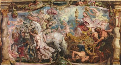 El triunfo de la Iglesia.Boceto para tapiz.Museo del Prado.Madrid.Es la mas grande de las escenas destinado a ocupar el altar central de las Descalzas Reales.Espectacular escena a modo de triunfo romano.