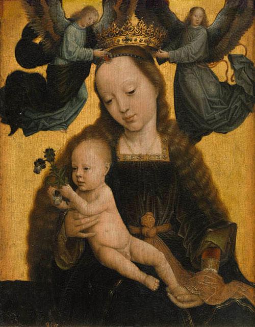 Gerard David,la Virgen con el Niño y ángeles,hacia 1520.Óleo sobre tabla.34x27cm.Colección Real.