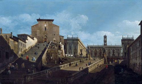 Bernardo Bellotto.Santa María d´Aracoeli y el Capitolio en Roma. 1743.Petworth House, The Egremont Collection. Fue su tio Canaletto el que le aconsejó el viaje a Roma para mejorar su propio estilo.Encuadre complejo e interesante,la escalinata, increíble!i