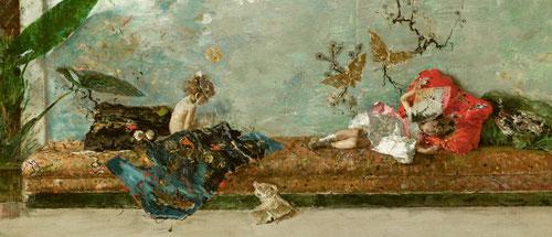 Los hijos del pintor en el salón japonés. Óleo sobre lienzo 1874.Museo del Prado. Durante su estancia en Portici pintó a sus hijos MLuisa y Mariano.Sus dibujos preparatorios revelan la génesis de su pintura, un mecanismo óptico avanzado,magistral, audaz.