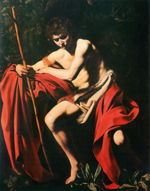 San Juan Bautista en el desierto,1602.Óleo sobre lienzo,172x132cm.Kansas City Museum of Art. Forma parte de los temas más apreciados de la pintura de Caravaggio,llegando a un nivel de monumentalidad casi escultórica.Rostro y mirada en sombra,manto rojo..