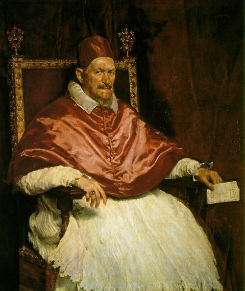 Diego Velázquez,Retrato del Papa Inocencio X,1650.Encargo que supone la culminación de sus aspiraciones como pintor en Roma y le sirvió para acentuar su fama en la ciudad.Una de la obras más alabadas por la tensión psicológica.
