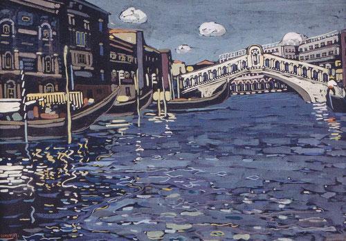 Ponte Rialto.Témpera,1904.40x56cm.Intentó plasmar en sus primeras obras su experiencia interior, vitalidad y fuerza imaginativa,aunque profesor de universidad,se entregaba a la pintura fruto de sus tensiones y antagonismos.