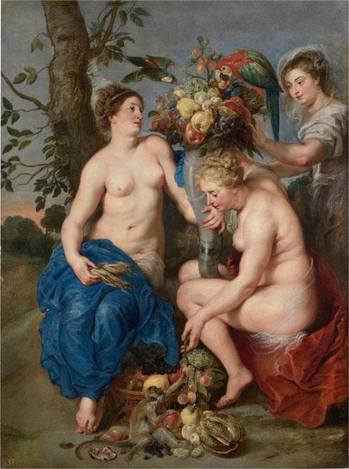 Pedro Pablo Rubens (taller) y Frans Snyders. Tres ninfas con el cuerno de la abundancia.Óleo sobre lienzo.207x153cm.Colección privada.