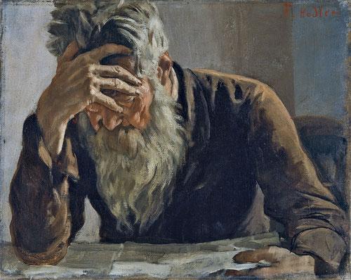 Ferdinand Hodler, El lector1885.Museo Thyssen Óleo sobre lienzo 31x38cm!!Sorprende el potencial expresivo del personaje teniendo en cuenta su pequeño formato.Pintor simbolista suizo de trazo preciso y potente que busca la esencia psicológica del retratado