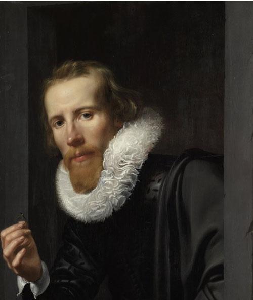 Werner van den Valckert.Retrato de un orfebre.Óleo sobre tabla 66x49cm.Amsterdam Rijksmuseum.  El gusto por los ropajes negros se convirtió en un desafío para los artistas, así como los cuellos de lechuguina prohibidos en 1623 por opulentos y excesivos