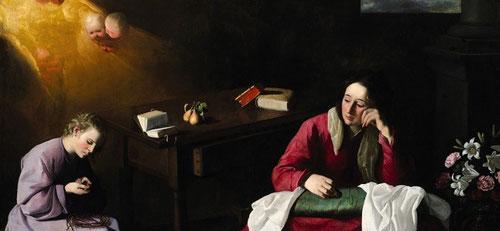 La casa de Nazaret.Francisco Zurbarán.1644.Esta iconografía original de Jesus adolescente, se pincha un dedo mientras trenza la guirnalda de zarza, rompe el presagio de María y derrama una lágrima.Existen varias copias de esta iconografia,escena íntima.