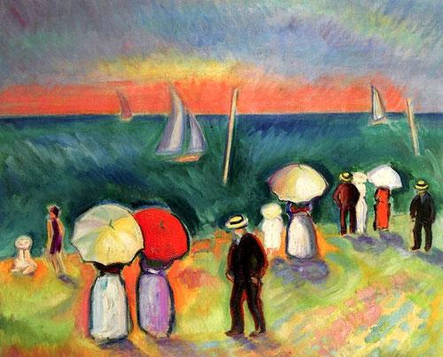 """Raoul Dufy.La playa de Sainte-Adresse 1906.Colección Fundación Tritón. El mismo autor decía""""He llegado a lo esencial de mi pintura en el camino y la búsqueda...la historia en sí no me importa, lo que importa es la manera de contarla"""""""