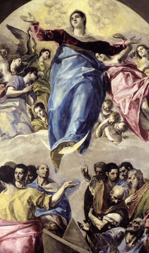 La Asunción de la Virgen del Greco, 1577.Óleo sobre lienzo.403x211cm. Chicago,The Art Institute.Los doce apóstoles en primer término colosales, composición claramente dividida en dos partes, nobleza y grandiosidad, hermosos ropajes y fuerza imponderable.