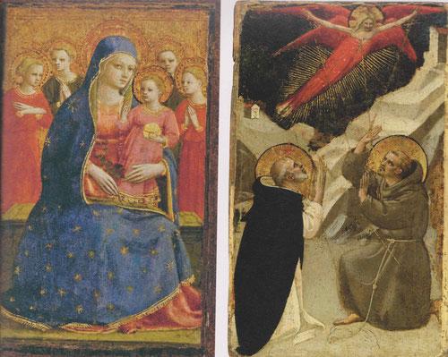 Constituyen las dos alas de un pequeño díptico.La Virgen sujeta al Niño en su regazo pero sostiene unas rosas en la otra  mano,en su manto hay una bella ornamentación de estrellas.Dcha un santo Domingo de edad avanzada con tonsura y barba alza las manos.