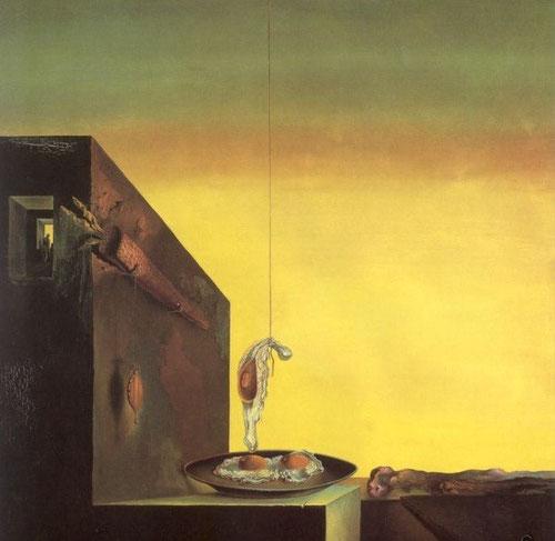 """Dalí Huevos al plato sin el plato 1932. Contiene elementos iconográficos surrealistas que mas le obsesionaron:relojes blandos,huevos fritos,barra de pan..""""paraiso intrauterino color anaranjado,rojo,amarillo,color del fuego"""""""