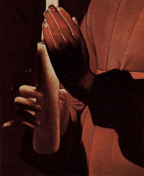 Detalle de la vela que sostiene el hijo de José el carpintero, en cuyos dedos la luz se hace casi transparente.En Roma la escena de  José trabajando iluminado por Jesús, fue pintada en varias ocasiones,Caravaggio,Gerrit van Honthorst..
