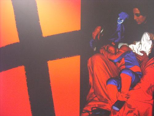 """""""Madonna.Retablo de mi familia"""" Francis Marín.120x80cm. Técnica mixta.Infografía intervenida.2010"""