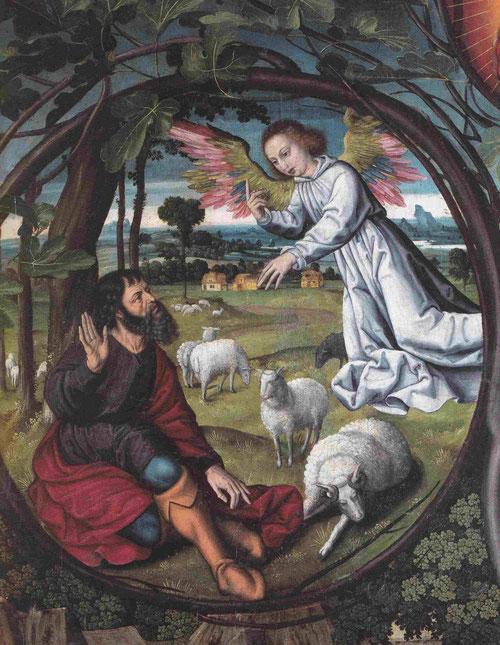 Detalle de la voluta izquierda que se abre entre el ramaje, en el que aparece san Joaquin y un ángel le notifica el fin de la infertilidad de su mujer Ana. Curioso paisaje rural entra ovejas.