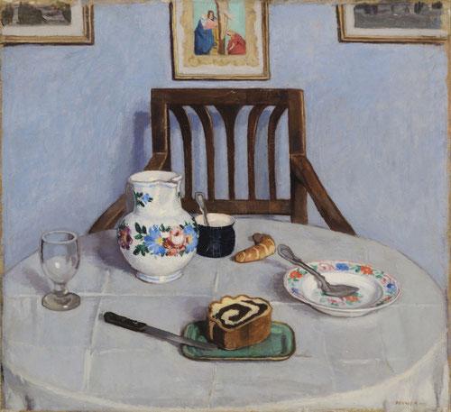 Adolf Fenyes,Bizcocho de semillas de amapola,1910. Todos estos jóvenes artistas dieron lugar a la pintura moderna húngara presentando la vida cotidiana de campesinos. Simetría de la composición en silla y mesa y pared frontal.Superficie plana y homogénea